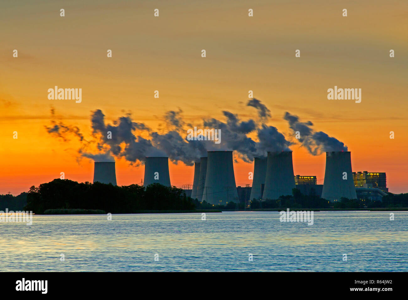 Jänschwalde / Jaenschwalde lignite-fired power station at sunset, third-largest brown coal power plant in Germany at Brandenburg, Spree-Neiße Stock Photo
