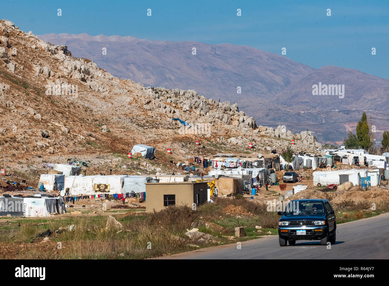 Palestinian refugee camp, Bekaa Valley, Lebanon - Stock Image