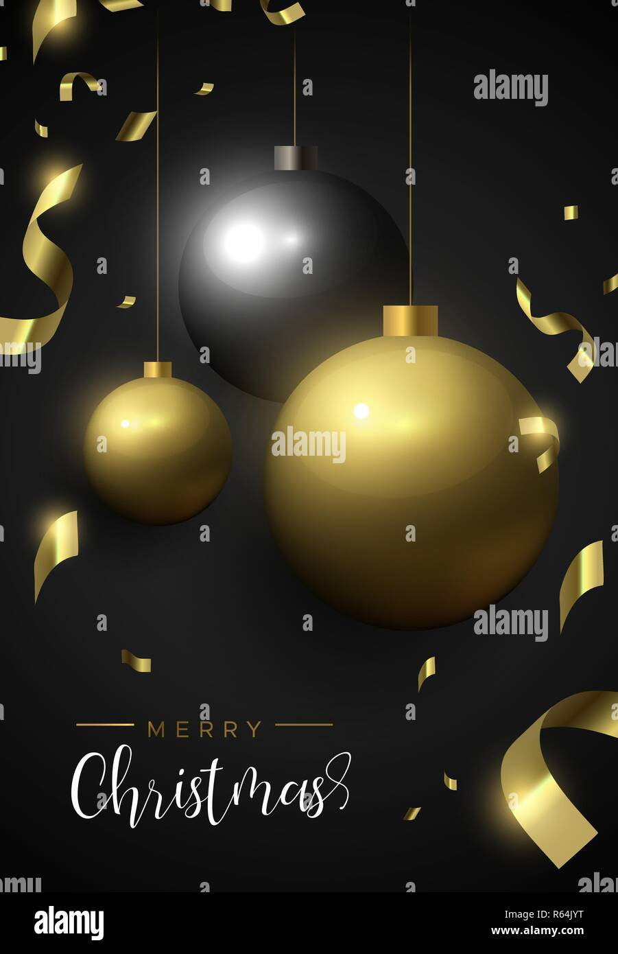 Christmas Invitation Background Gold.Merry Christmas Card Gold And Black Xmas Bauble Ornaments