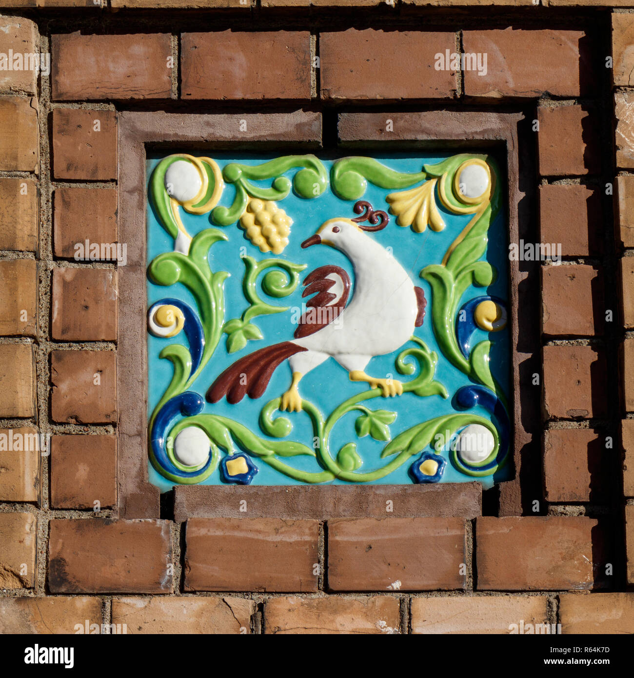 Decorative ceramic wall tile outside the Church of the Savior on Spilled Blood in Saint-Petersburg, Russia. - Stock Image