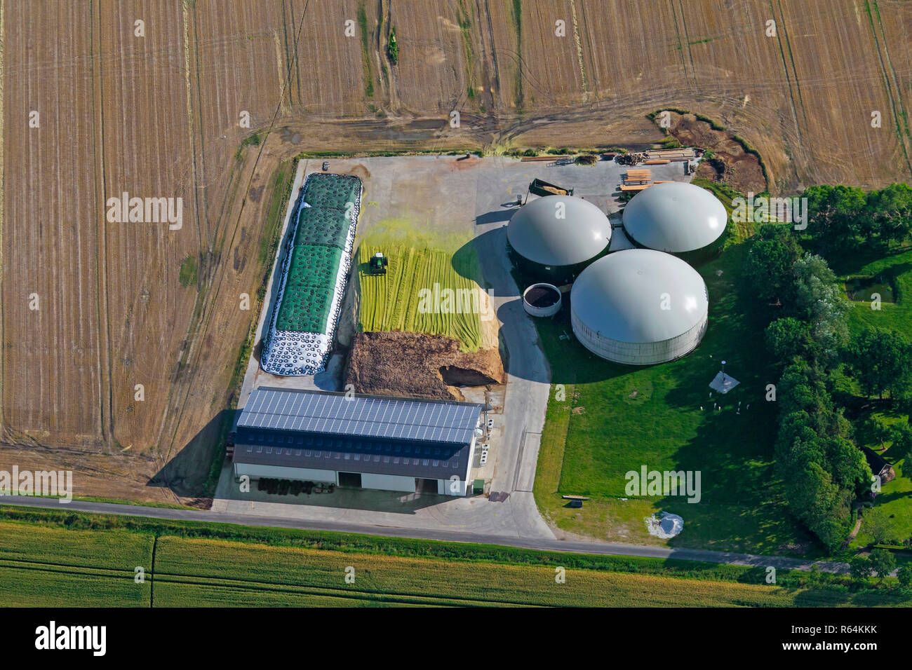 Anaerobic Digestion Plant Stock Photos Some Biogas Diagram Digester Aerial View Over Showing Digesters With Inflatable Holders Schleswig Holstein