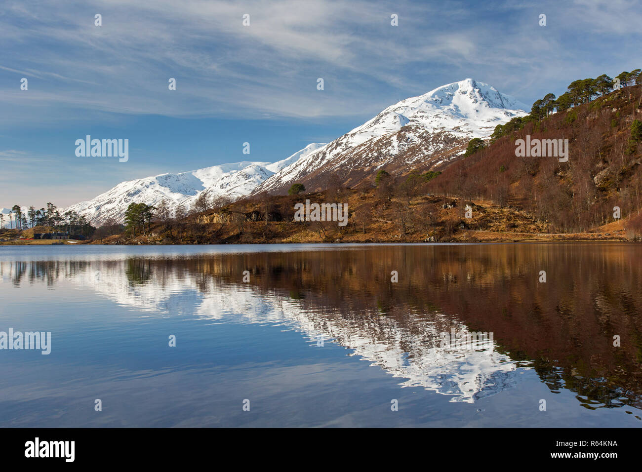 Caledonian Forest along Loch Affric and mountain Sgurr na Lapaich in winter, Glen Affric, Inverness-shire, Scottish Highlands, Highland, Scotland, UK - Stock Image