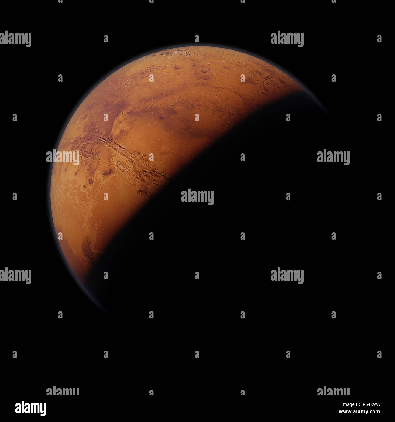 planet Mars, the red planet isolated on black background - Stock Image