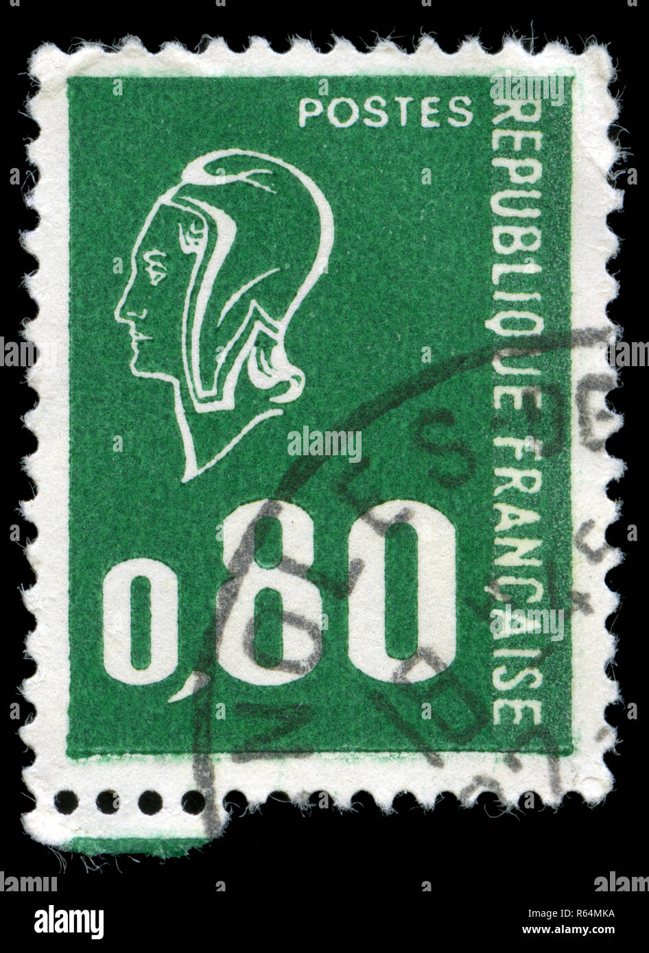 Postage stamp from France in the Marianne (Béquet) series issued in 1976 - Stock Image