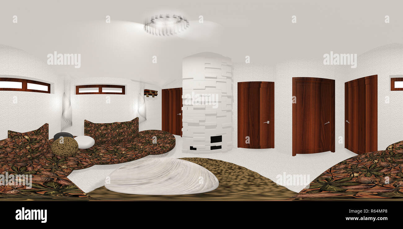 hdri map of white room 3d illustration Stock Photo