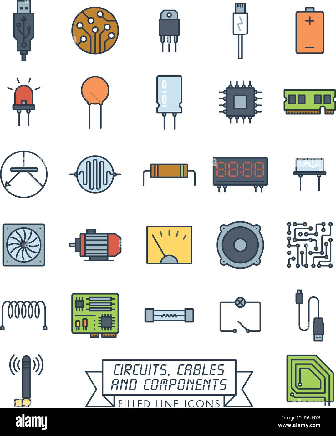 Mainboard Stock Vector Images Alamy Electronic Circuit Symbols Collection Of Components Circuits And Cables Filled Line Icons Microtechnology Color