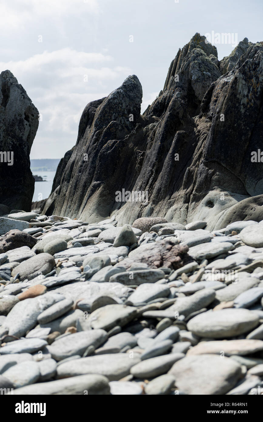 Rocks on the shore of Northern France - Stock Image
