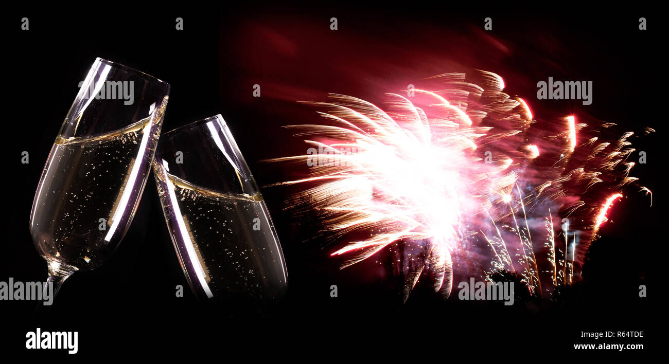 new year background champagne and fireworks stock image