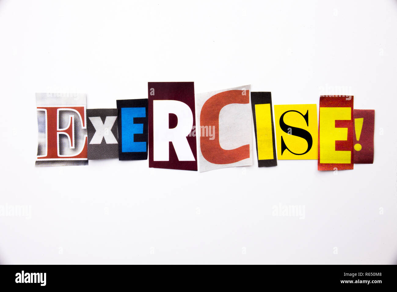 A Word Writing Text Showing Concept Of Exercise Workout Made Of Different Magazine Newspaper Letter For Business Case On The White Background With Copy Space Stock Photo Alamy