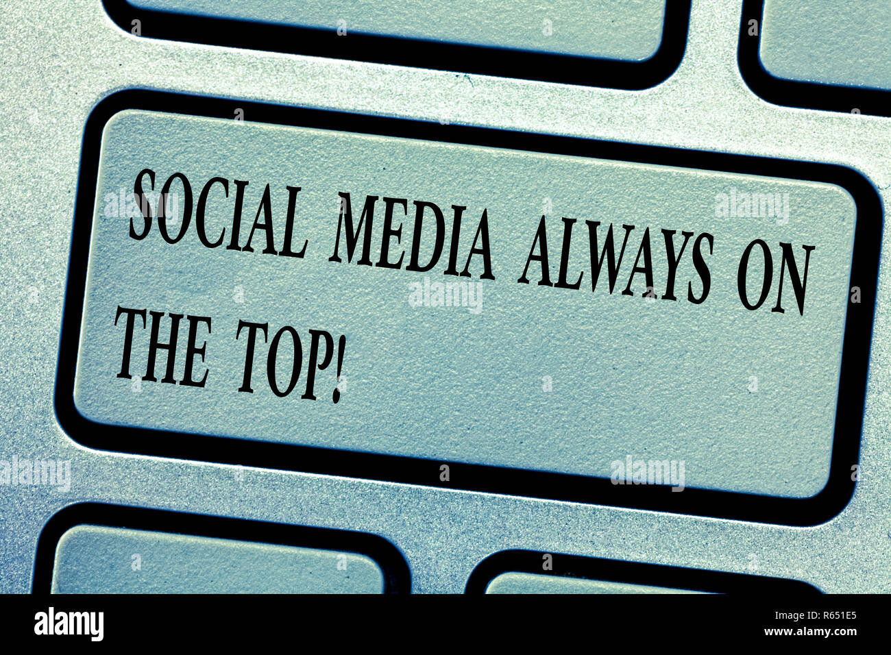 Word writing text Social Media Always On The Top. Business concept for New digital communication technologies Keyboard key Intention to create compute - Stock Image