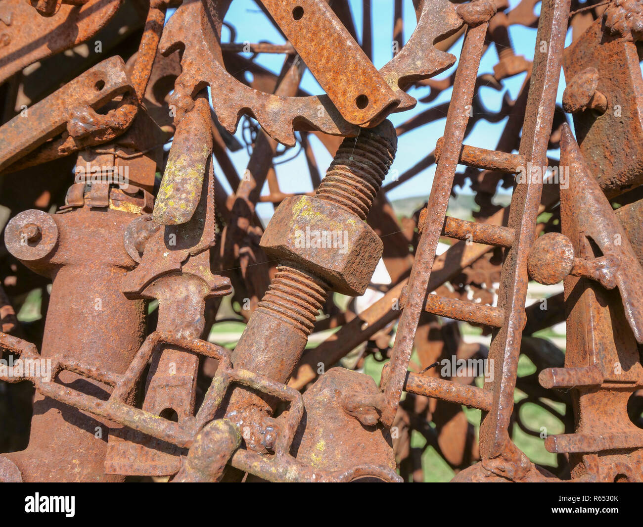 Rusty nuts, bolts and pieces of scrap metal Stock Photo