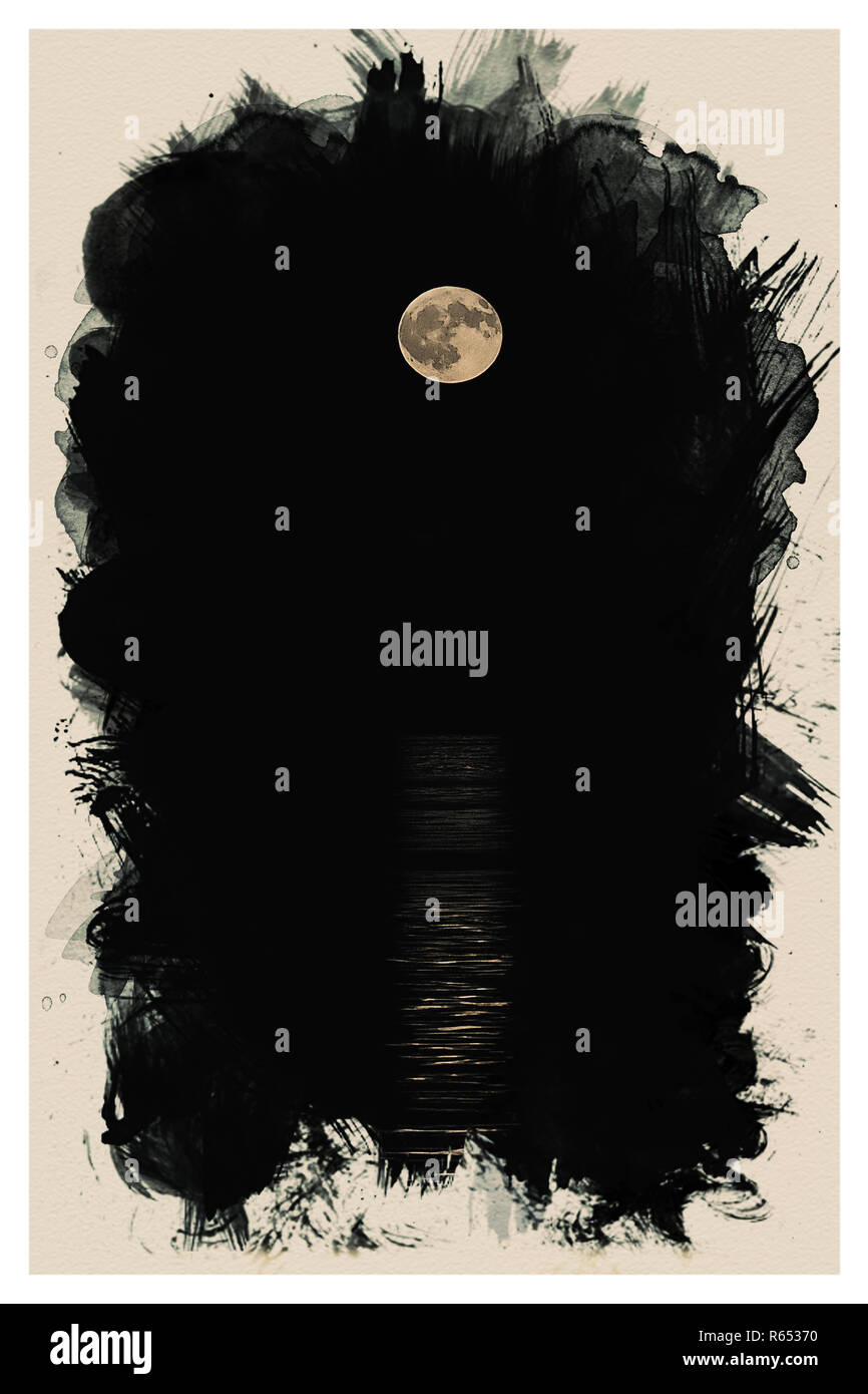 full moon rises over the horizon watercolor.jpg - R65370 1R65370 - Stock Image