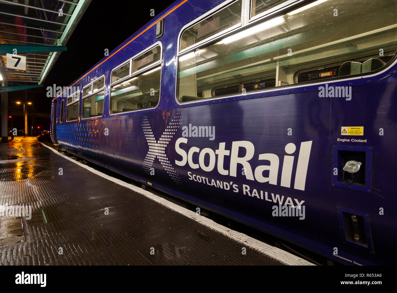 Scotrail logo on the side of a class 156 sprinter train - Stock Image