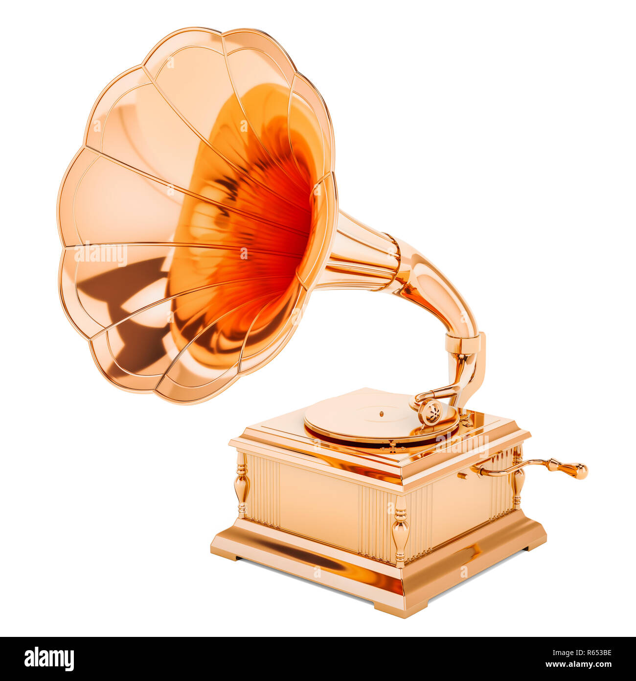 Golden gramophone. Music award concept, 3D rendering isolated on white background - Stock Image