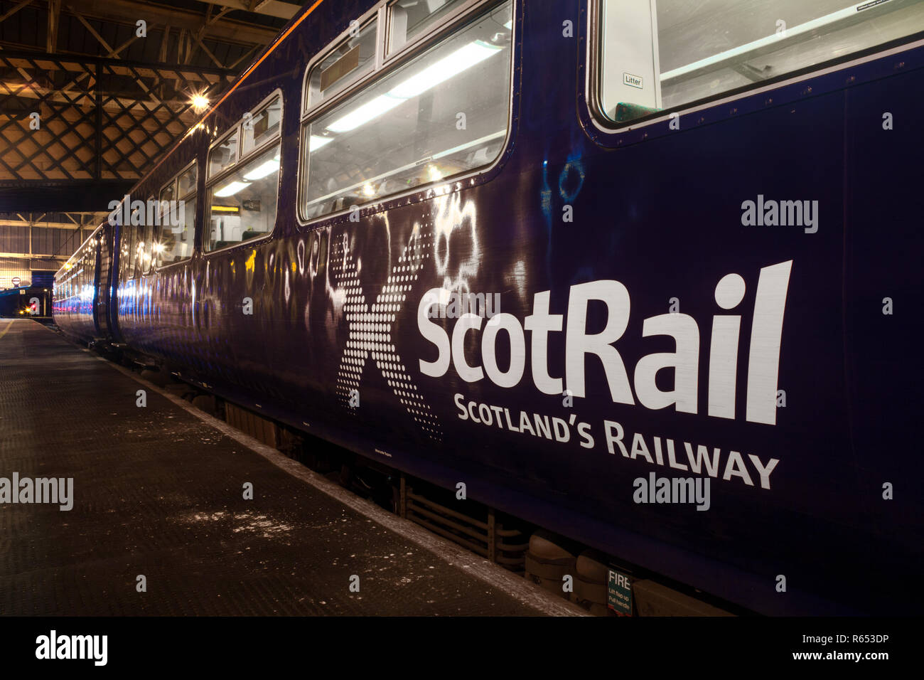 Scotrail class 156 sprinter train at Carlisle railway station showing the Scotrail logo - Stock Image