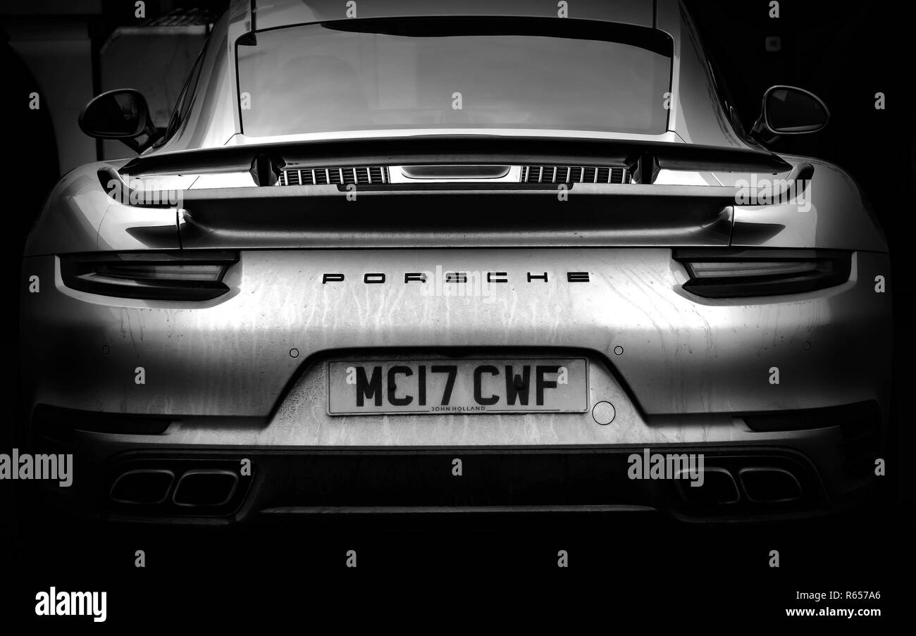 The Back Of A Modern Porsche 911 Turbo Sports Car Stock Photo