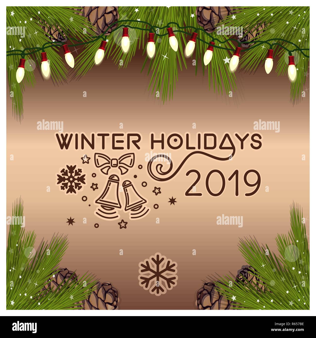 Christmas design. Branches of spruce, fir cones, fir-tree garland of electric bulbs on a on a festive brown background. Winter holidays. Vector illust Stock Vector