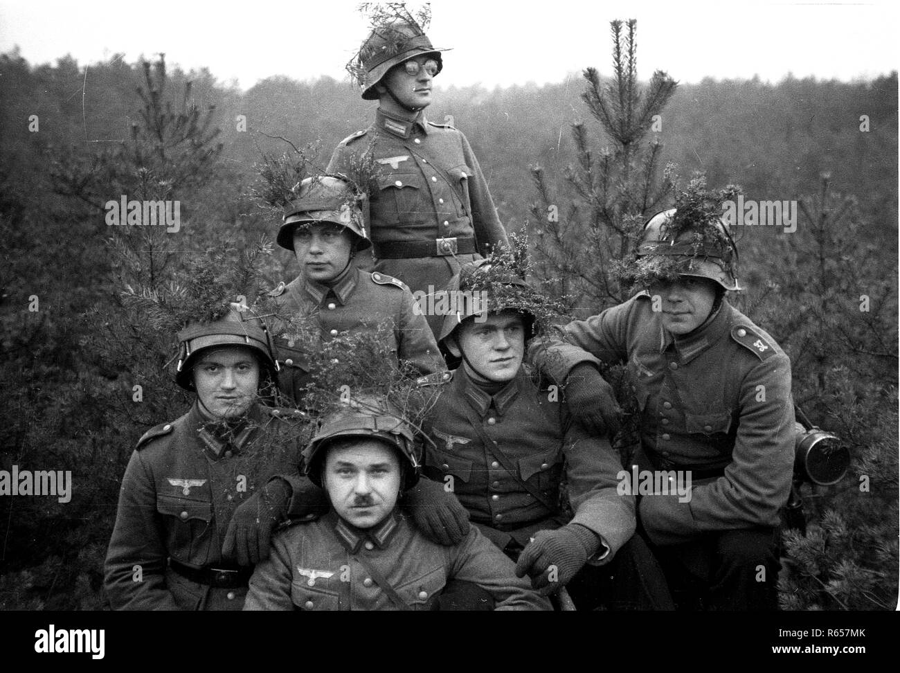 Christmas 1936 German Army Soldiers, Germany - Stock Image