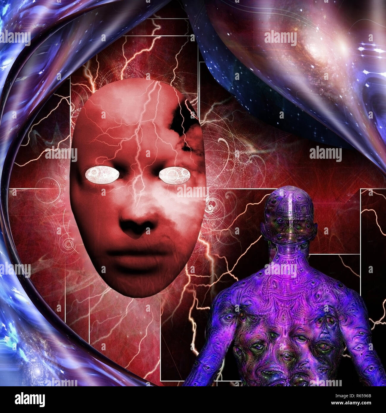 Surrealism. Mystic mask with lightnings. Man with weird demonic eyes on skin. Warped space. Stock Photo