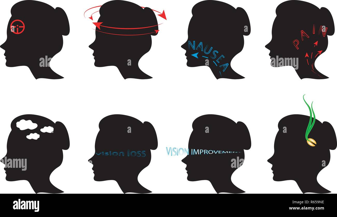 illustration of symptoms of pains in the head. icons - Stock Vector