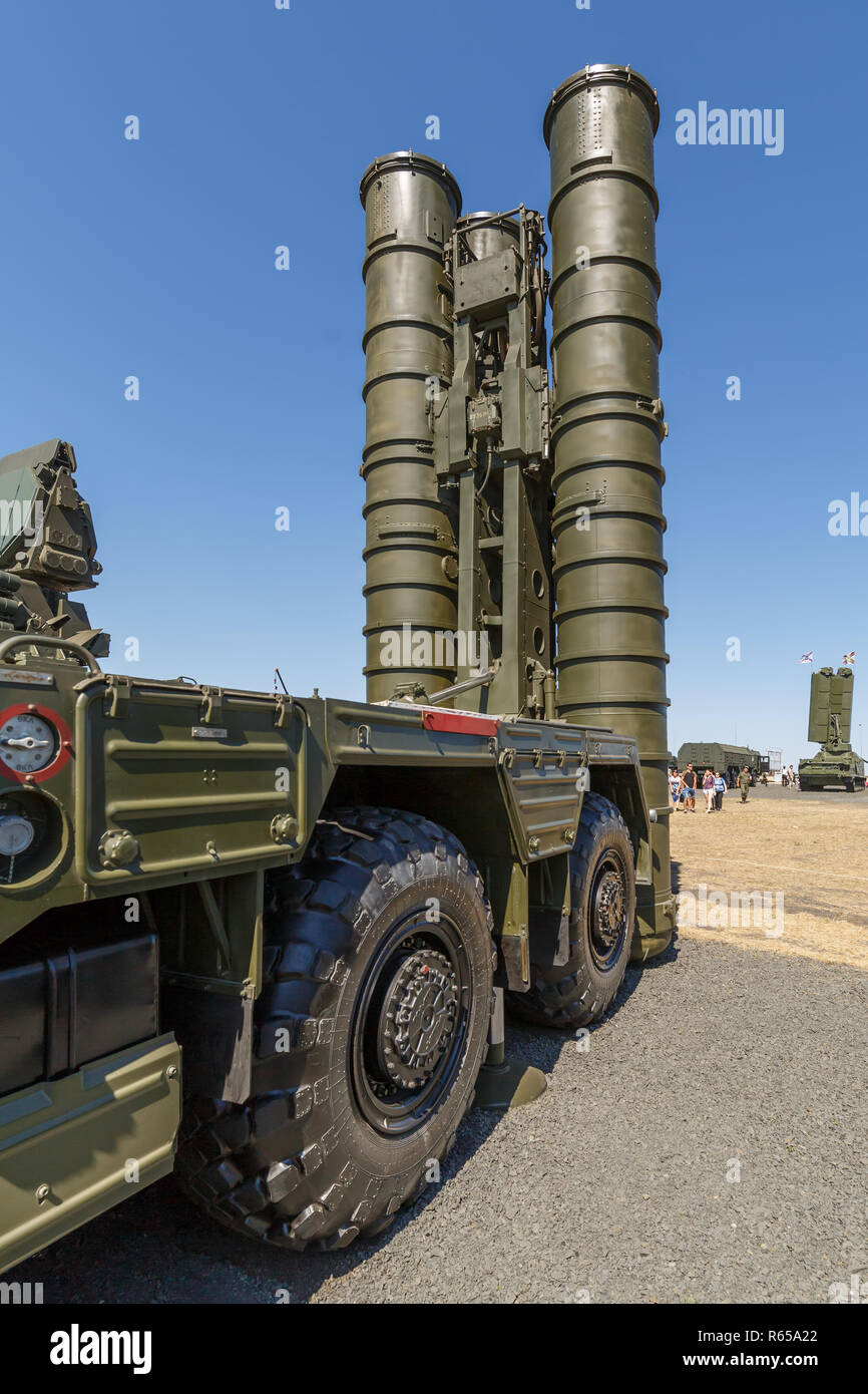 International military technical forum 'ARMY-2018». Launcher of the Russian anti-aircraft missile system S-400 «Triumph» - Stock Image