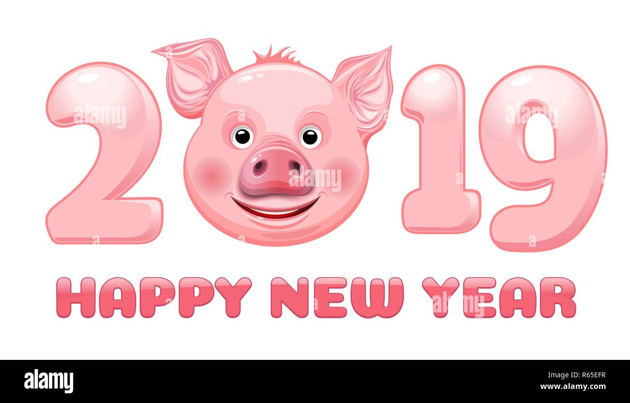Happy New Year 2019 Stylized Inscription With Cute Funny Pig Face