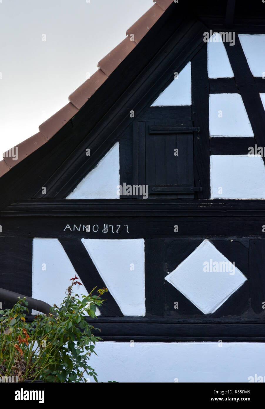 house inscription half-timbered house neupotz Stock Photo