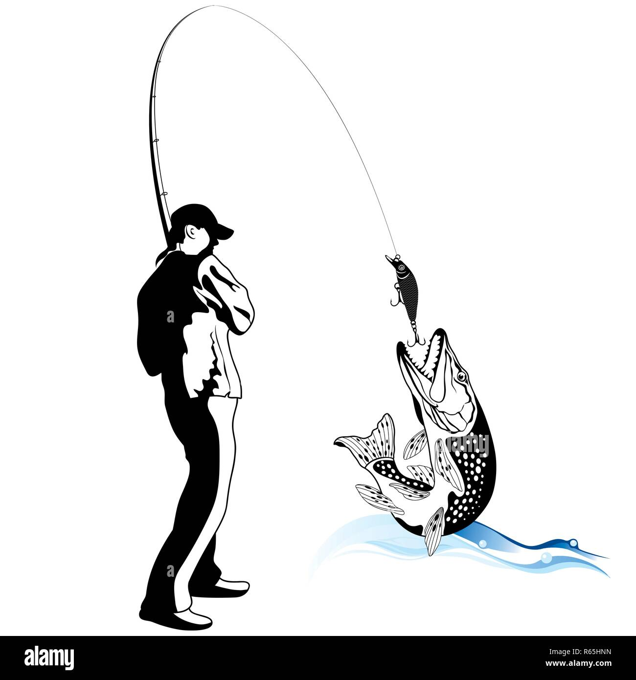 Fisherman caught a pike, vector illustration - Stock Image