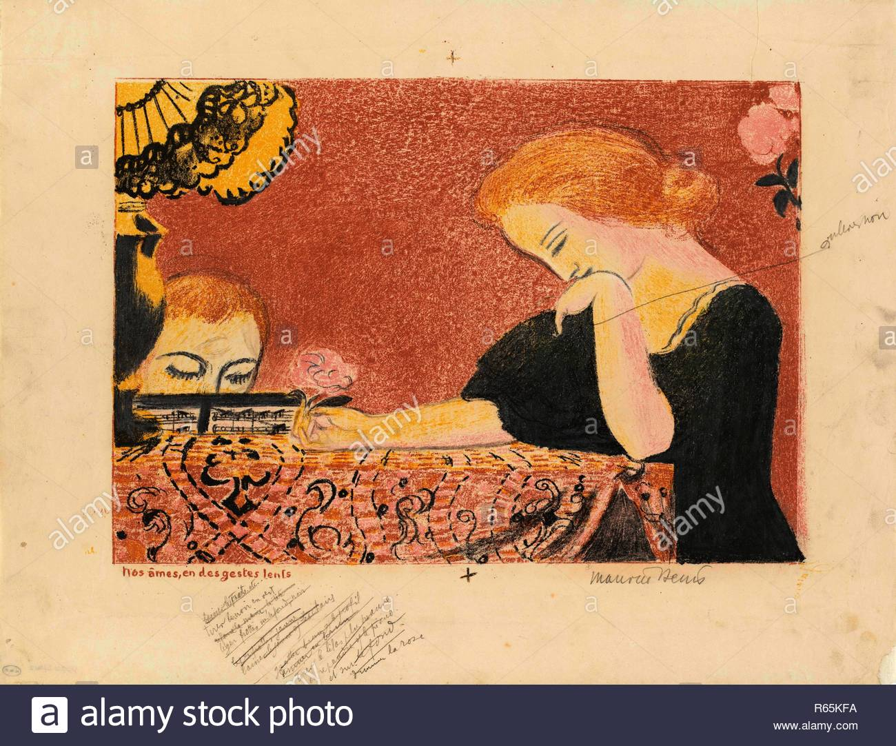 Our Souls, with Languorous Gestures (Nos âmes en des gestes lents) from the series Amour. Dimensions: 40.5 cm x 52.5 cm, 29 cm x 40.4 cm. Museum: Van Gogh Museum, Amsterdam. Author: DENIS, MAURICE. Maurice Denis. - Stock Image