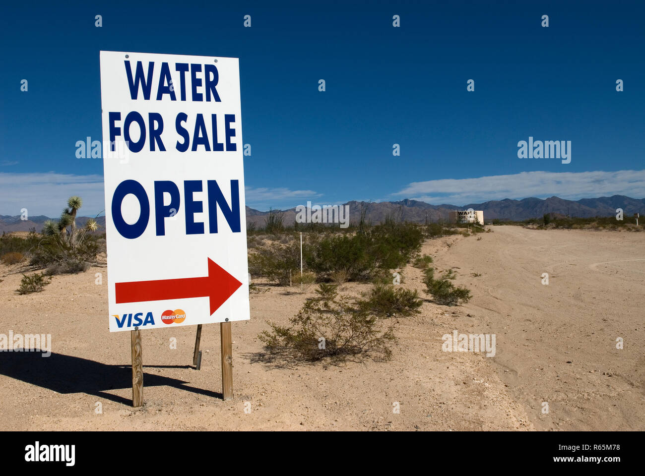 Water for Sale in the Arizona Desert, USA. Concept of thirst or dehydration. - Stock Image