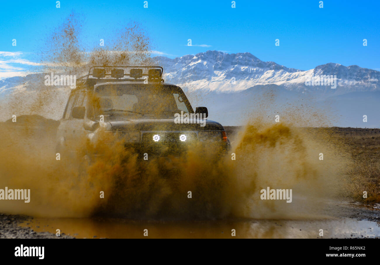 offroad excitement with off-road vehicle - Stock Image