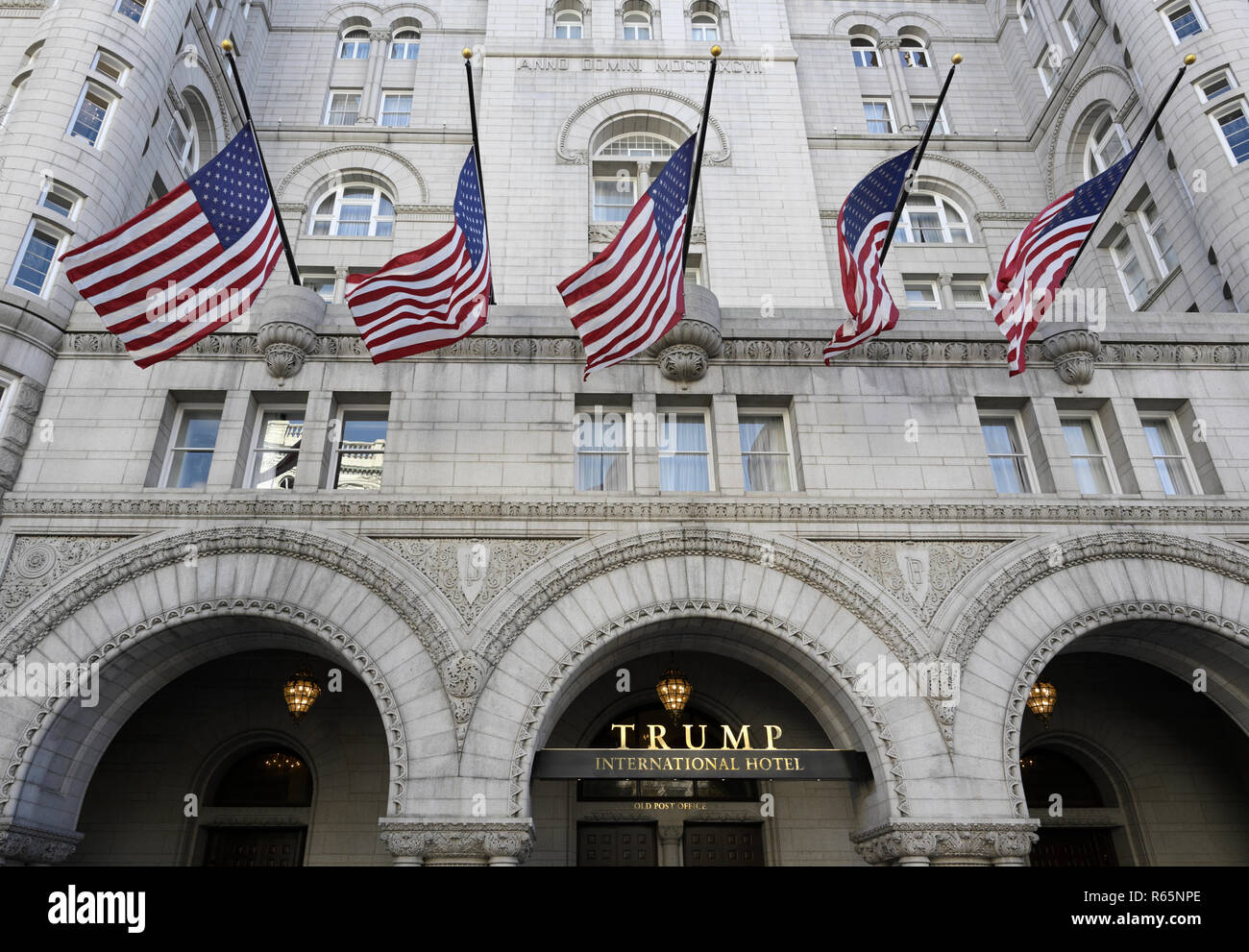 Trump hotel Washington D.C. in the historic Old Post Office - Stock Image