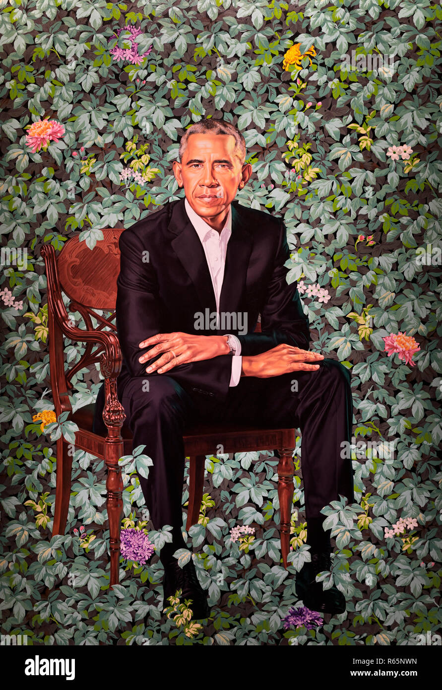 Barack Obama official portrait by Kehindre Wiley - Stock Image