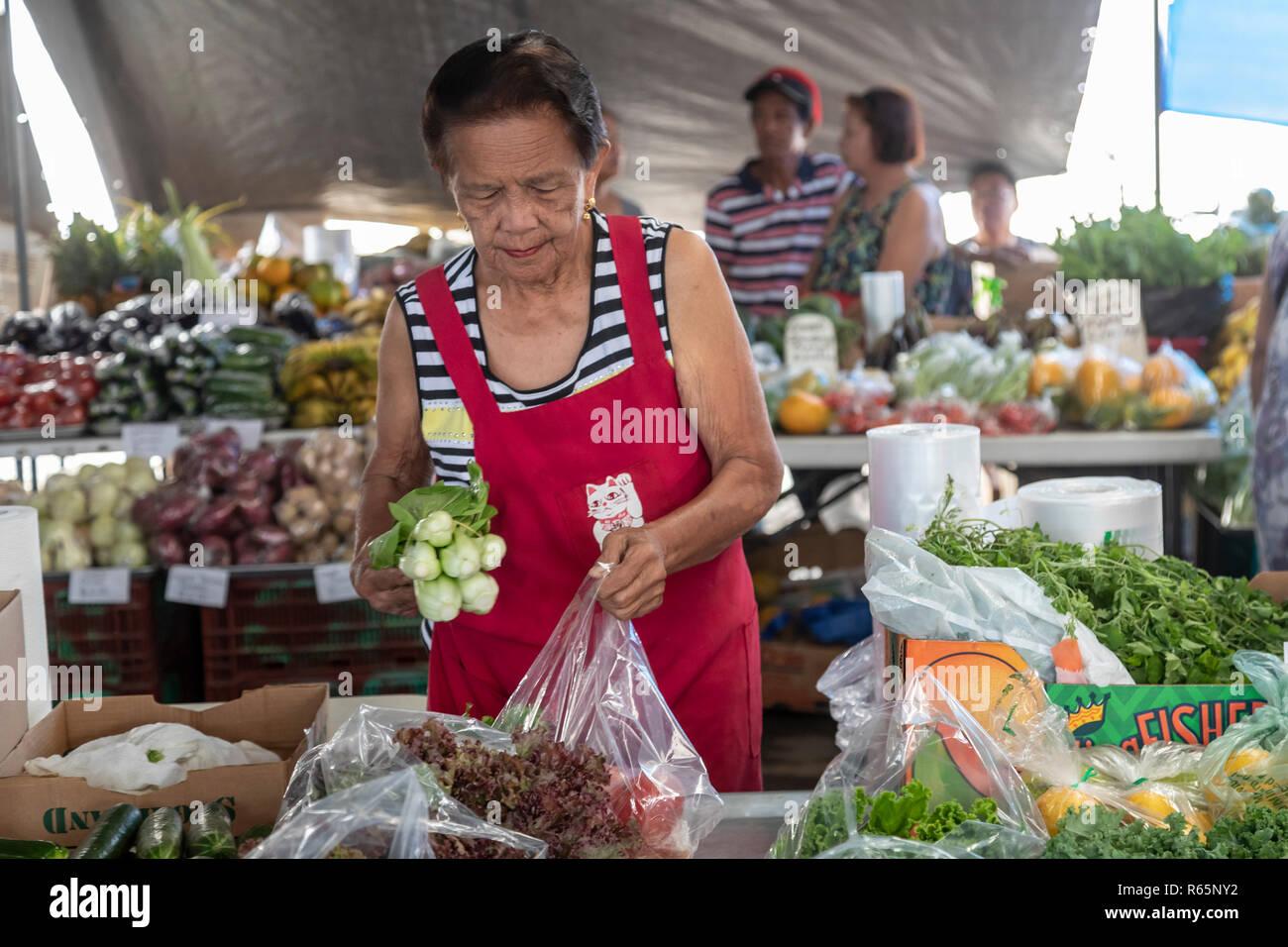 Hilo, Hawaii - The Hilo Farmers Market. - Stock Image