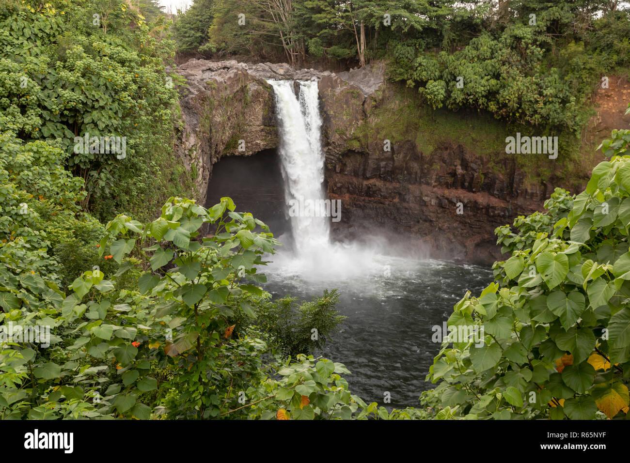 Hilo, Hawaii - Rainbow Falls. - Stock Image