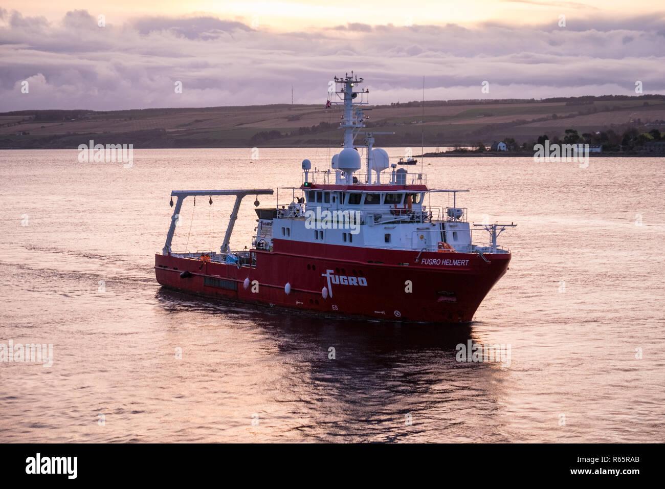 The survey vessel Fugro Helmert in Invergordon, Scotland - Stock Image