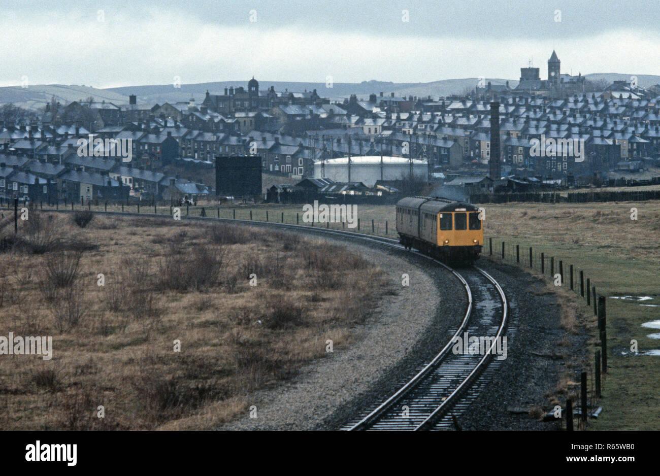 Diesel Multiple Unit on the British Rail Preston to Colne railway line at Colne, Lancashire, Great Britain - Stock Image