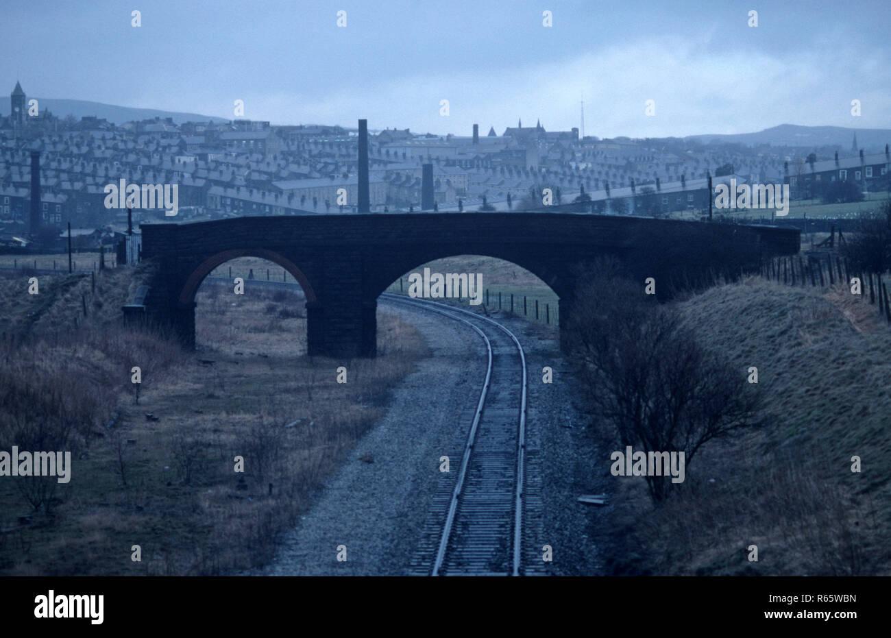 Railway Bridge over the British Rail Preston to Colne railway line, Lancashire, Great Britain - Stock Image