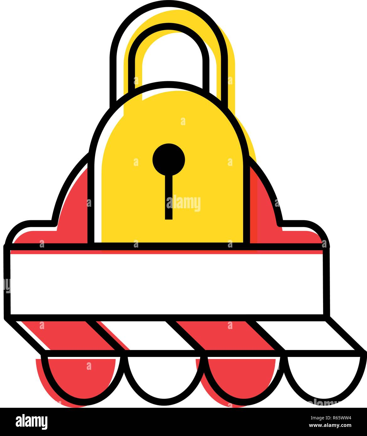 parasol store with padlock secure vector illustration design - Stock Image