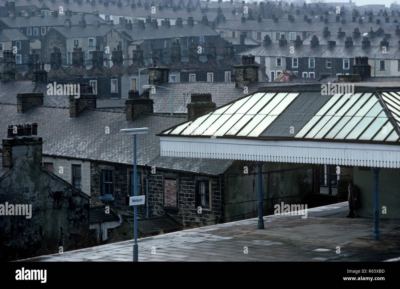 Nelson Station on the British Rail Preston to Colne railway line, Lancashire, Great Britain - Stock Image