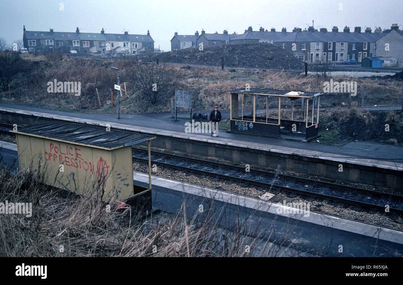 Hapton Railway Station on the British Rail Preston to Colne railway line, Lancashire, Great Britain - Stock Image