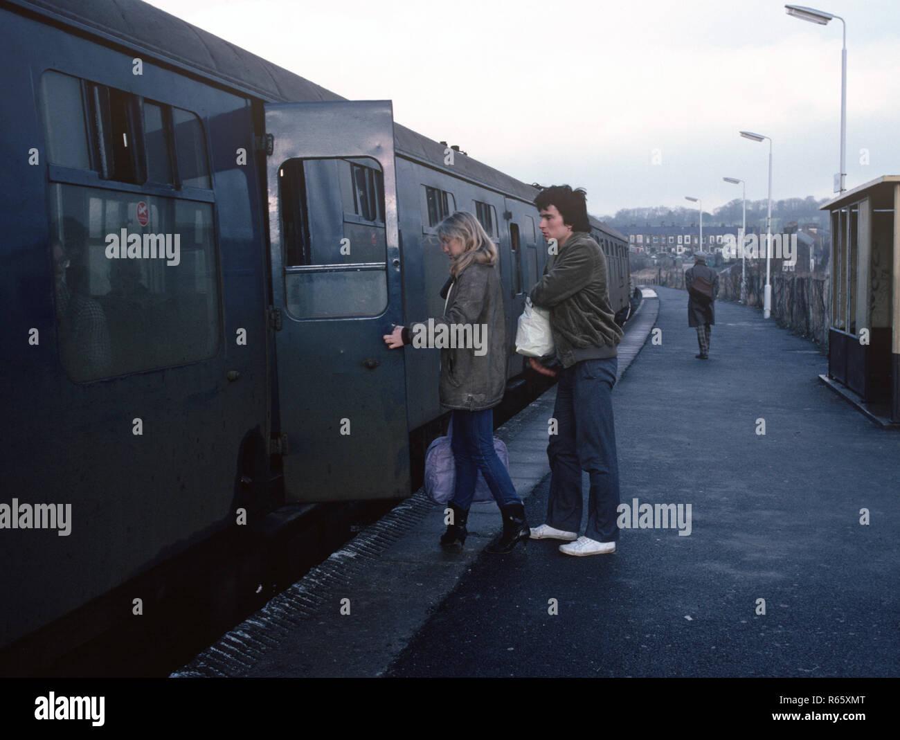 Passengers at Hapton station on the British Rail Preston to Colne railway line, Lancashire, Great Britain - Stock Image