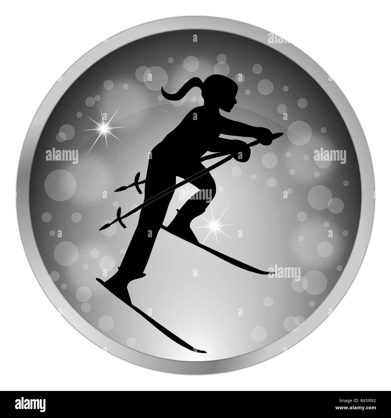silver button Silhouette of female Skier – illustration - Stock Image