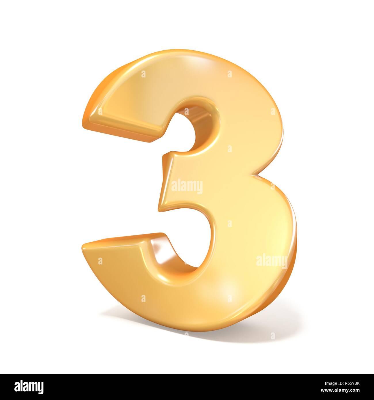 Orange twisted font number THREE 3 3D - Stock Image