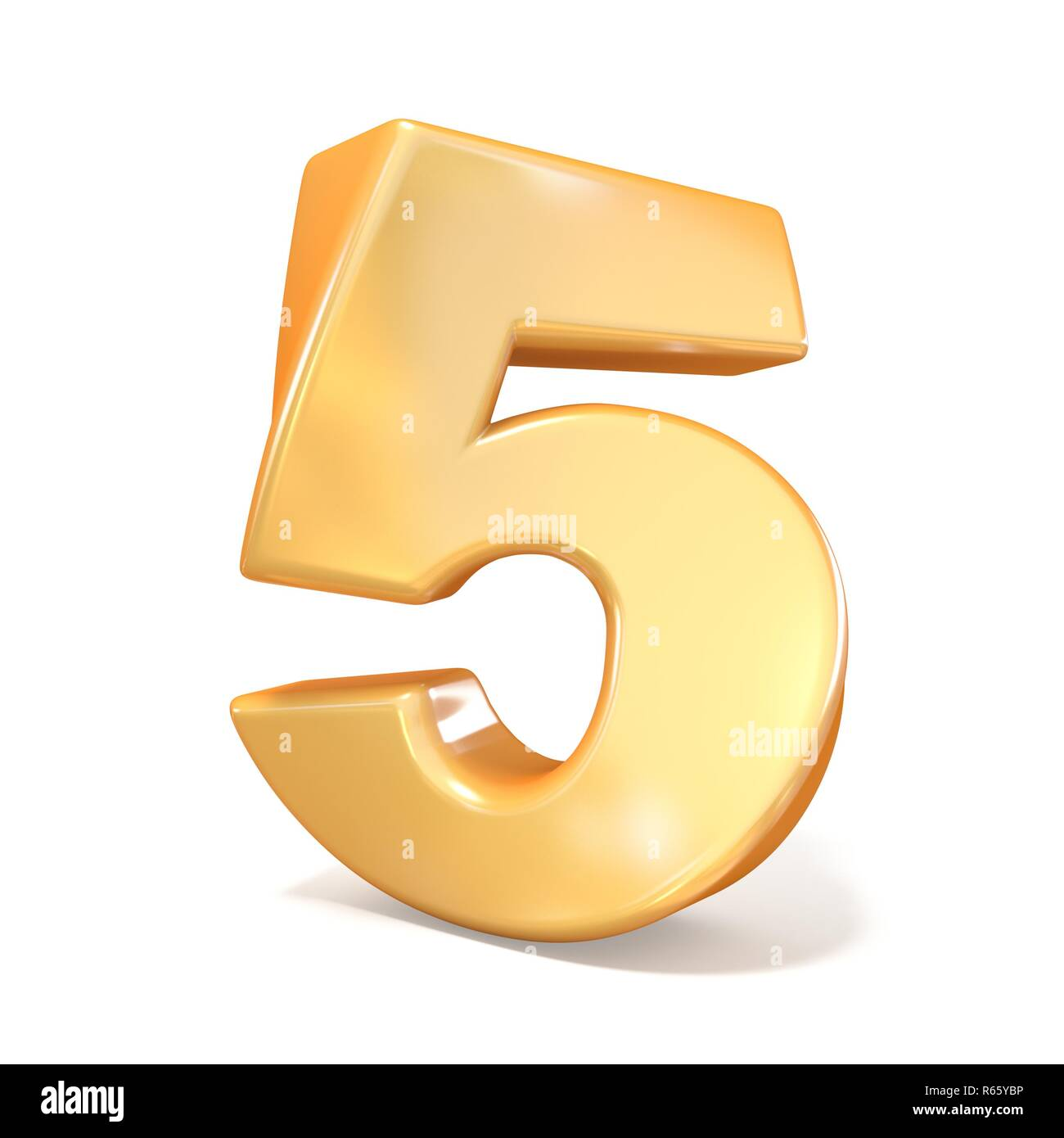 Orange twisted font number FIVE 5 3D - Stock Image