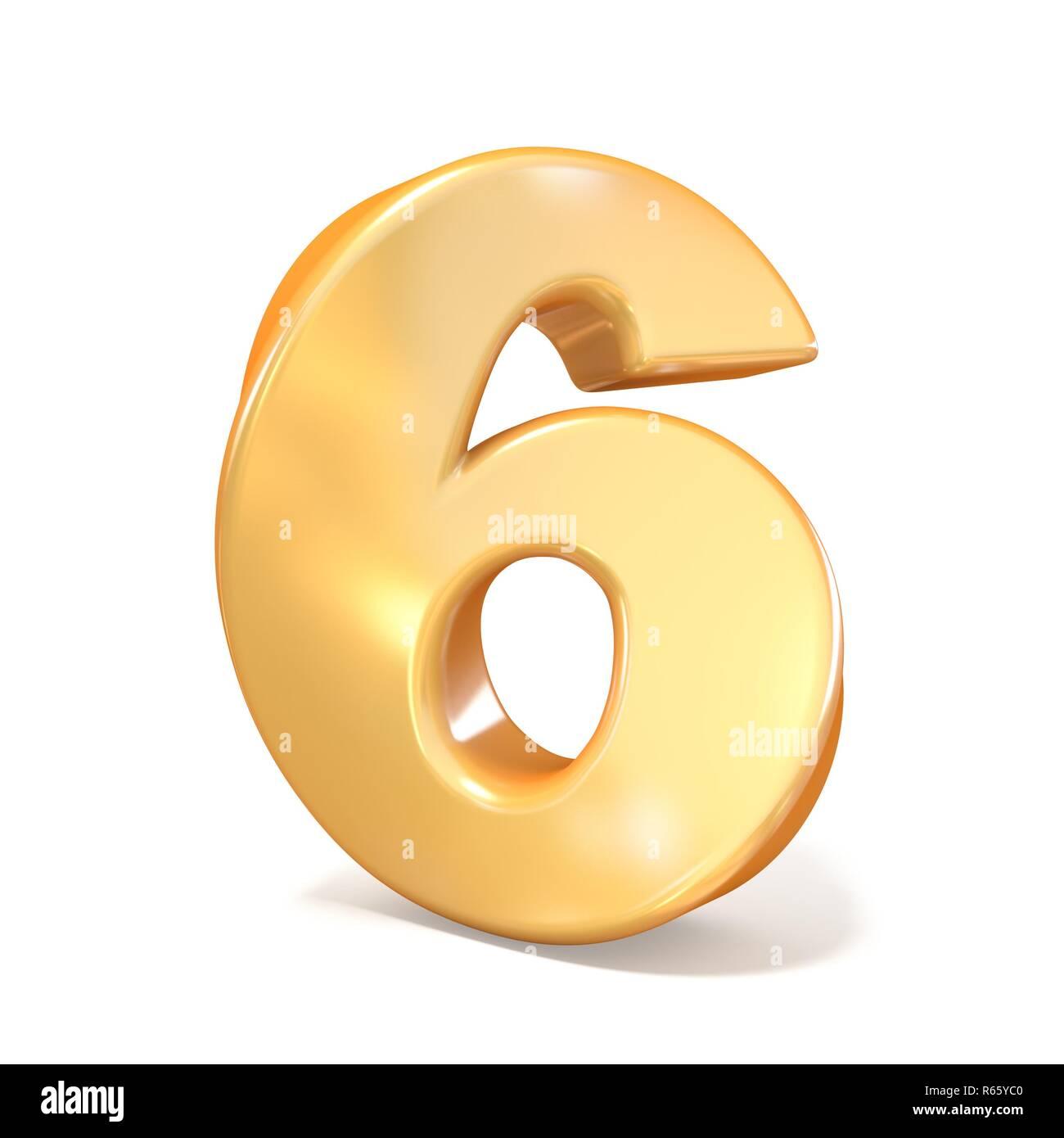 Orange twisted font number SIX 6 3D - Stock Image
