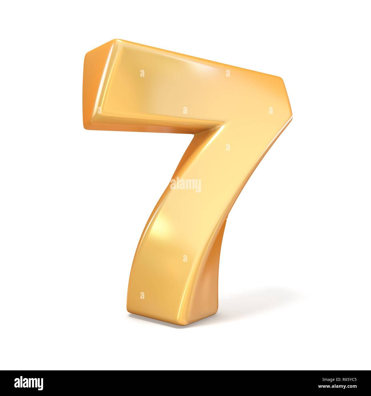 Orange twisted font number SEVEN 7 3D - Stock Image