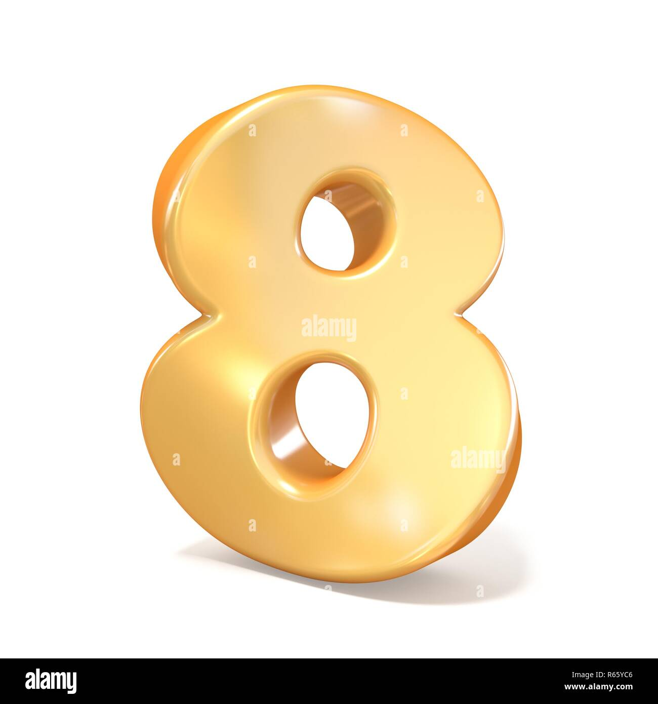 Orange twisted font number EIGHT 8 3D - Stock Image