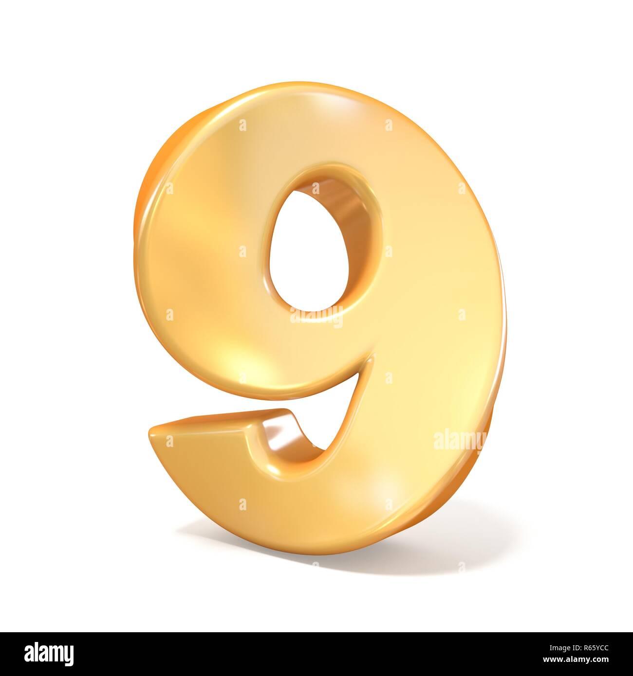 Orange twisted font number NINE 9 3D - Stock Image