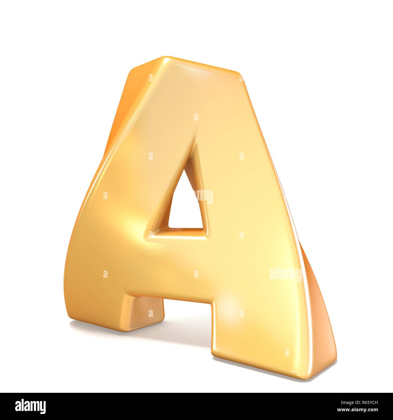 Orange twisted font uppercase letter A 3D - Stock Image